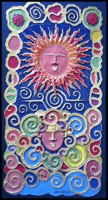 Otil Rotcod; SUN AND WIND, 2013, Original Mixed Media, 81 x 152 inches. Artwork description: 241  All handmade papier mache artwork, with embellishment. About the depiction of the sun and the wind as they interrelate to nature. ...