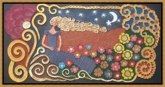 Otil Rotcod; WISHING, 2013, Original Mixed Media, 81 x 152 inches. Artwork description: 241  All handmade papier mache artwork, a depiction of a beautiful lady on a one stary stary night, as she makes wishful thinkings. And with flowers on her feet.             ...