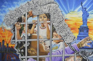 O Yemi Tubi; Trump Cage, 2020, Original Painting Oil, 36 x 24 inches. Artwork description: 241 aEURoeGive me your tired, your poor, Your huddled masses yearning to breathe free, The wretched refuse of your teeming shore. Send these, the homeless, tempest- tossed to me, I lift my lamp beside the golden door aEUR  Emma LazarusThe Statue of Liberty- Ellis Island Foundation, Inc.The ...