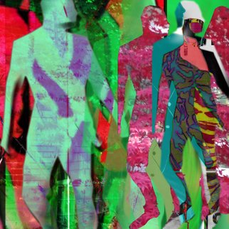 Osnat Lippa; Dancers, 2009, Original Digital Art,   inches. Artwork description: 241  A group of figures some shadowy standing one behind another staring back. Brilliant colours, beautiful digital work. ...