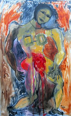 Padma Prasad; Context Of Red, 2011, Original Painting Oil, 30 x 48 inches. Artwork description: 241  Woman figure  ...
