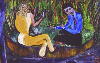 Padma Prasad; Conversation-2, 2001, Original Painting Oil, 22 x 28 inches. Artwork description: 241 Two people enjoying a break from work. ...
