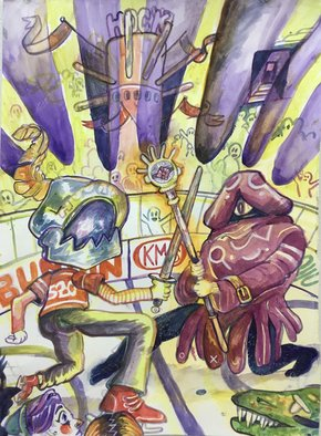 Gio Martin; Hockey 3, 2020, Original Watercolor, 11 x 17 inches. Artwork description: 241 Artists are not the most common frequenters of the frozen sports, but perhaps they should be.  There is much grace to be seen in a game where huge, muscular dudes glide around on ice while swinging huge sticks at each other. ...