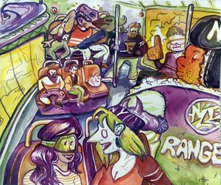 Gio Martin; Hockey One, 2020, Original Watercolor, 17 x 11 inches. Artwork description: 241 A loving yet anxious vignette in reverse- Rangers colors   a New York- based hockey team , during the hours leading up to the frozen disc event, from the perspective of an outsider like myself, a queer transgender person who has never been to a hockey game before this ...