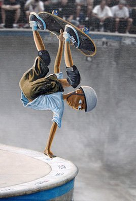 Pete Pierce; Frontside Handplant, 2008, Original Mixed Media, 16 x 20 inches.