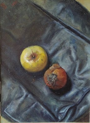 Parnaos Surabischwili; Apple And Onion, 1990, Original Painting Oil, 12 x 15 inches. Artwork description: 241   Oil painting on board  ...