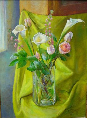 Parnaos Surabischwili; Callas And Roses, 2006, Original Painting Oil, 24 x 36 inches. Artwork description: 241   Oil painting on board ...