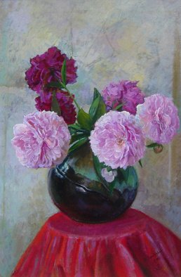 Parnaos Surabischwili; Peonies, 2007, Original Painting Oil, 22 x 30 inches. Artwork description: 241    Oil painting on board  ...