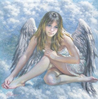 Petr Parkhimovitch; Etude 01 Angel On A Cloud, 2019, Original Painting Oil, 56 x 57 cm. Artwork description: 241 A small figurative study made in oil on paper. Young girl angel resting on a cloud. ...