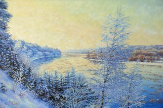 Petr Parkhimovitch; Morning Frost, 2018, Original Painting Oil, 90 x 60 cm. Artwork description: 241 Morning. Frozen from the cold wide river valley wakes up under the sunOil on canvasThe artwork on the stretcher, without a frame, signed on the front and back side, has a Certificate of Authenticity, certified by expertise.Offer your price. ...