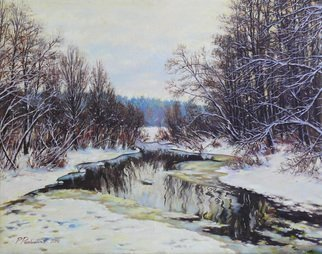 Petr Parkhimovitch; Small River Arrived, 2014, Original Painting Oil, 75 x 60 cm. Artwork description: 241 Original paintingOil on canvasThe artwork on the stretcher, without a frame, signed on the front and back side, has a Certificate of Authenticity, certified by expertise.Offer your price. ...