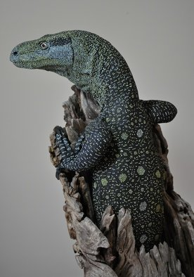 Roger Hjorleifson; That Is Close Enough, 2013, Original Sculpture Ceramic, 35 x 70 cm. Artwork description: 241    Clay sculpture of a crocodile monitor lizard ( Varanus Salvadorii) mounted on a mallee stump. Life size. Hand painted.  ...