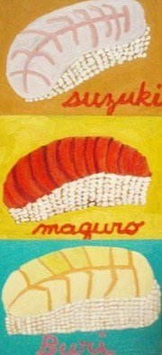 Patrice Tullai; 3 sushi, 2007, Original Painting Ink, 14 x 27 inches. Artwork description: 241  oil on wood of three different kinds of sushi ...