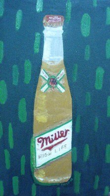 Patrice Tullai; Bottle of Miller Beer, 2009, Original Painting Oil,   inches. Artwork description: 241  Oil painting of a bottle of Miller Beer ...