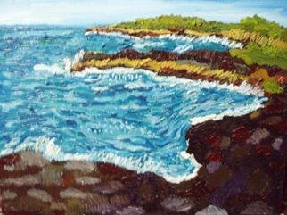 Patrice Tullai; Honokauha North, 2007, Original Painting Oil, 20 x 16 inches. Artwork description: 241  Oil on canvas painting of Big Island of Hawaii, land and seascape ...
