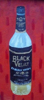 Patrice Tullai; black velvet, 2009, Original Painting Oil,   inches. Artwork description: 241  Original oil painting of a bottle of black velvet alcohol ...