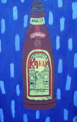 Patrice Tullai; kalua, 2009, Original Painting Oil,   inches. Artwork description: 241  original oil painting of a bottle of kahlua liquor. . .the color of the background is purple with purple dots ...