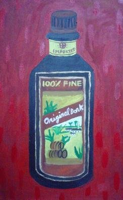 Patrice Tullai; rum, 2009, Original Painting Oil,   inches. Artwork description: 241  Original oil painting of a bottle of rum alcohol ...