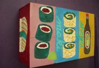 Patrice Tullai; sushi on wine box, 2006, Original Painting Oil, 20 x 13 inches. Artwork description: 241  oil painting of sushi on wine box ...