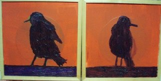 Patrice Tullai; two crows, 2007, Original Painting Oil, 30 x 16 inches. Artwork description: 241  Oil and acrylic paint on treated paper.This diptic has framing around each piece. ...