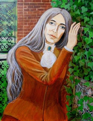 Patrick Lynch; All My Heart Is One Longing, 2015, Original Painting Acrylic, 11 x 14 inches. Artwork description: 241    A beautiful woman with grey hair leans against an ivy covered wall in a courtyard.  ...