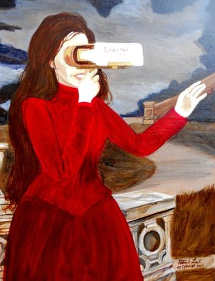 Patrick Lynch; L Autre Monde, 2014, Original Painting Acrylic, 16 x 20 inches. Artwork description: 241   A mysterious Victorian lady gazes into a glowing stereoscope viewer into another world. ...