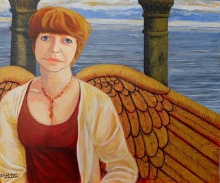 Patrick Lynch; Love, The Giver Of Wings, 2015, Original Painting Acrylic, 18 x 15 inches. Artwork description: 241  A beautiful woman who so dearly loves and is loved, her soul is reflected in her gold