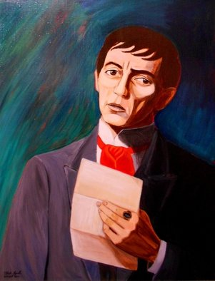 Patrick Lynch; My Heart Swims Blind In A..., 2011, Original Painting Acrylic, 22 x 28 inches. Artwork description: 241  Barnabas Collins from TV's Dark Shadows contemplates what he has just read in an imagined scene from the 1897 storyline.     ...