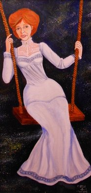 Patrick Lynch; The Morning Stars, 2012, Original Painting Acrylic, 12 x 24 inches. Artwork description: 241  An Edwardian era woman rides a swing in the early morning hours before sunrise.       ...