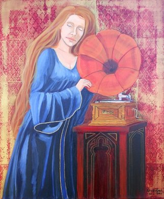 Patrick Lynch; To Dream The Old Dreams O..., 2015, Original Painting Acrylic, 20 x 24 inches. Artwork description: 241  A red- haired woman listens to the music being played on a gramophone    ...