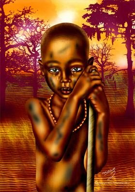Patrick Enumah; Lost Series 2, 2012, Original Digital Art, 24 x 33 inches. Artwork description: 241 Now, at the age of eight, the young boy is still emotionally bruised and battered by his present reality and left in the wild trying to adapt to his new terrain. ...