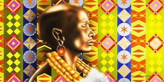 Patrick Enumah; Tradition, 2013, Original Digital Art, 24 x 12 inches. Artwork description: 241 A woman from the Turkana tribe in North Kenya, Known for using motives as a symbol of their cultural heritage...