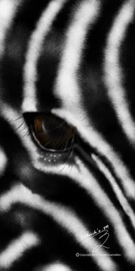 Patrick Enumah; Zeebra, 2015, Original Digital Art, 16 x 32 inches. Artwork description: 241   A zebra sees only two colors black and    white, which can be likened to honesty    in a person.    The position of the eyes to the sides of     the head helps it to envision up     to 360 and can be characterised to a     personaEURtms strategic positioning in ...