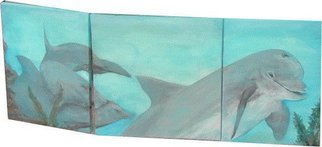 Patty Hoskin; Dolphins, 2009, Original Painting Acrylic, 40 x 24 inches.