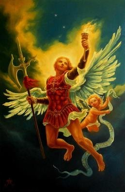 Paul Armesto; Uriel, 2011, Original Painting Oil, 23.5 x 35.5 inches. Artwork description: 241 Uriel, one of the archangels of the old tradition, his name meansLight of Godreason why he is usually depicted with a torch in his handUriel is said to guide a person along new projects. In the painting he is accompanied by a cherub who holds a banderole ...