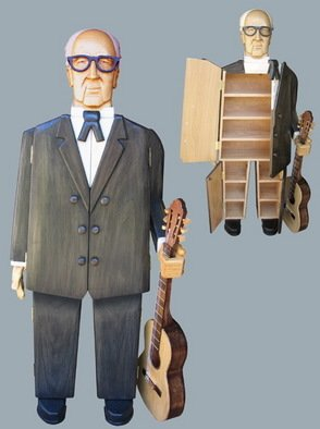 Paul Carbo; Andres Segovia, 2009, Original Sculpture Wood, 21 x 68 inches. Artwork description: 241  Custom, handmade, free- standing, stained wood cabinet as life- size caricature of Andres Segovia ...
