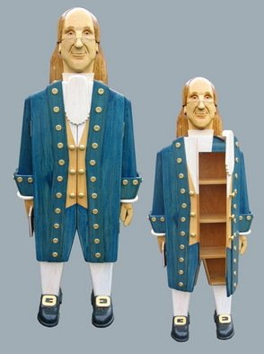 Paul Carbo; Ben Franklin, 2008, Original Furniture, 1.8 x 5.9 feet. Artwork description: 241  Custom, handmade, free- standing, stained wood cabinet as life- size caricature of Ben Franklin ...