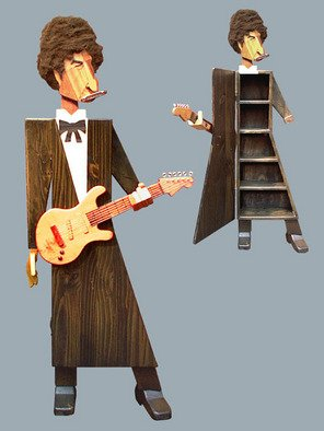 Paul Carbo; Bob Dylan, 2005, Original Sculpture Wood, 2.2 x 5.7 inches. Artwork description: 241  Custom, handmade, free- standing, stained wood cabinet as life- size caricature of Bob Dylan ...