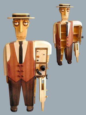 Paul Carbo; Buster Keaton, 2007, Original Furniture, 2.4 x 5.6 feet. Artwork description: 241  Custom, handmade, free- standing, stained wood cabinet as life- size caricature of Buster Keaton ...