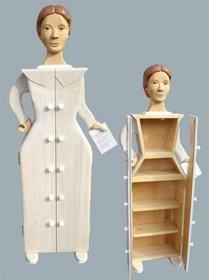 Paul Carbo; Emily Dickinson, 2010, Original Sculpture Wood, 20 x 62 inches. Artwork description: 241 Custom handmade, free- standing wood cabinets as life- size caricature of Emily Dickinson...