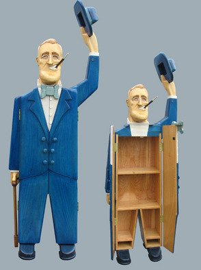 Paul Carbo; Franklin Roosevelt, 2008, Original Furniture, 1.8 x 6.2 feet. Artwork description: 241  Custom, handmade, free- standing, stained wood cabinet as life- size caricature of Franklin Roosevelt ...