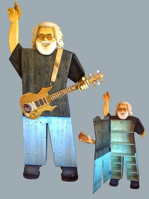 Paul Carbo; Jerry Garcia, 2009, Original Sculpture Wood, 2.2 x 5.9 inches. Artwork description: 241  Custom, handmade, free- standing, stained wood cabinet as life- size caricature of Jerry Garcia ...