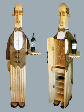 Paul Carbo; The Butler Wine Cabinet, 2007, Original Furniture, 1.4 x 6.1 feet. Artwork description: 241  Custom, handmade, free- standing, stained wood wine cabinet as life- size caricature of a butler ...