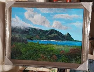 Paul Dudas; Bali Hai, 2020, Original Painting Acrylic, 48 x 36 inches. Artwork description: 241 Overlooking Hanalei Bay Bali Hai is famous for its romantic Beauty. . clouds, mountains, surf, tropical plants, waterfalls. . . in a custom wood frame. . . . ...