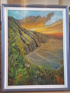 Paul Dudas; Napili Sunset, 2020, Original Painting Acrylic, 30 x 40 inches. Artwork description: 241 The Napili Cliffis in Kauai with breathtaking views any time of day but especially as sunset. . .  tropical trees, palms, flowers and the surf all reflect the rich colors of the sun setting. ...