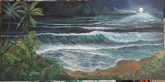 Paul Dudas; Starry Night, 2020, Original Painting Acrylic, 48 x 24 inches. Artwork description: 241 A full moon on the ocean s horizon and stars in the night sky all combine to create a paradise of light in this romantic tropical scene of the beach and surf, surrounded by tropical flowers, palms, and distant mountains...