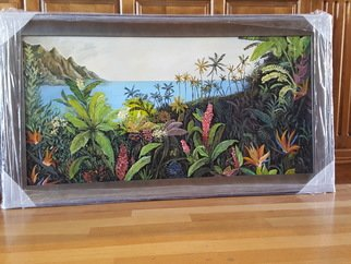 Paul Dudas; Tropical Garden, 2020, Original Painting Acrylic, 48 x 24 inches. Artwork description: 241 A beautiful, lush, paradise garden full of flowers, palms, trees and vines, overlooking the ocean. . . ...