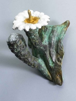 Paul Orzech; Cactus Flower With Bud Wa..., 2004, Original Sculpture Bronze, 4 x 7 inches. Artwork description: 241 A life like bronze reproduction of the Saguaro Flower and its bud. The white and yellow patina wash reproduces the coloration of the actual flower. The green patina reproduces the color of the Saguaro Cactus.  The wall hanging adds a spot of color to any wall or ...
