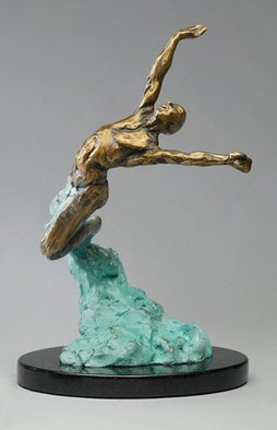 Paul Orzech; Celebration, 2009, Original Sculpture Bronze, 7 x 11 inches. Artwork description: 241  Celebration depicts a human figure leaping injoyous abandonment off the ground and into the air.  This piece was designed to convey an exhilarated state of mind a person feels whilesensing joy, boundless happiness and freedom.  My hope is thatCelebration will inspire the viewer to escape into a ...