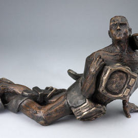 Paul Orzech, , , Original Sculpture Bronze, size_width{Struggling_With_Time-1244502134.jpg} X 10 inches